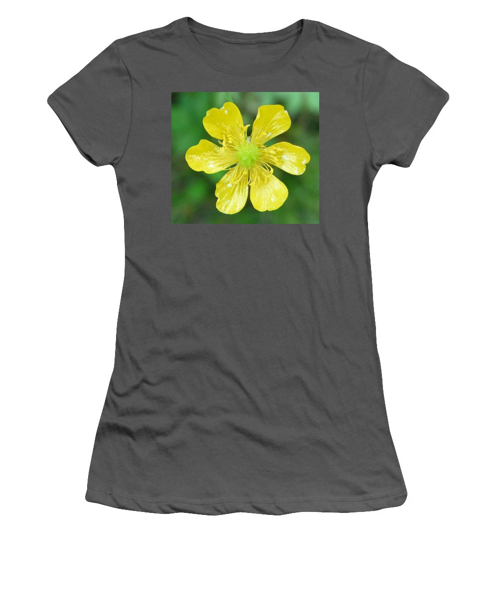Flower Women's T-Shirt (Athletic Fit) featuring the photograph Creeping Buttercup by Valerie Ornstein