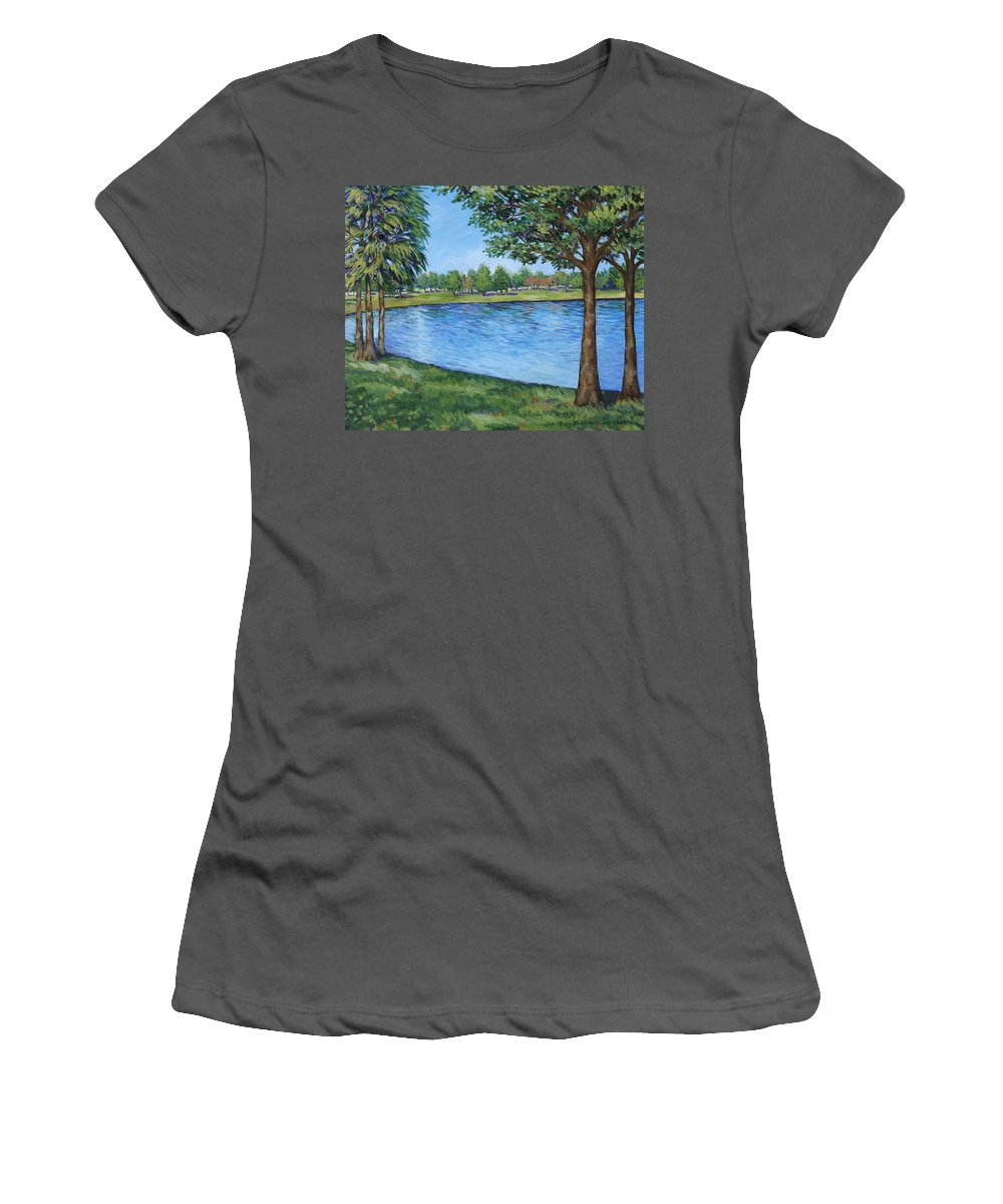 Lake Women's T-Shirt (Athletic Fit) featuring the painting Crest Lake Park by Penny Birch-Williams