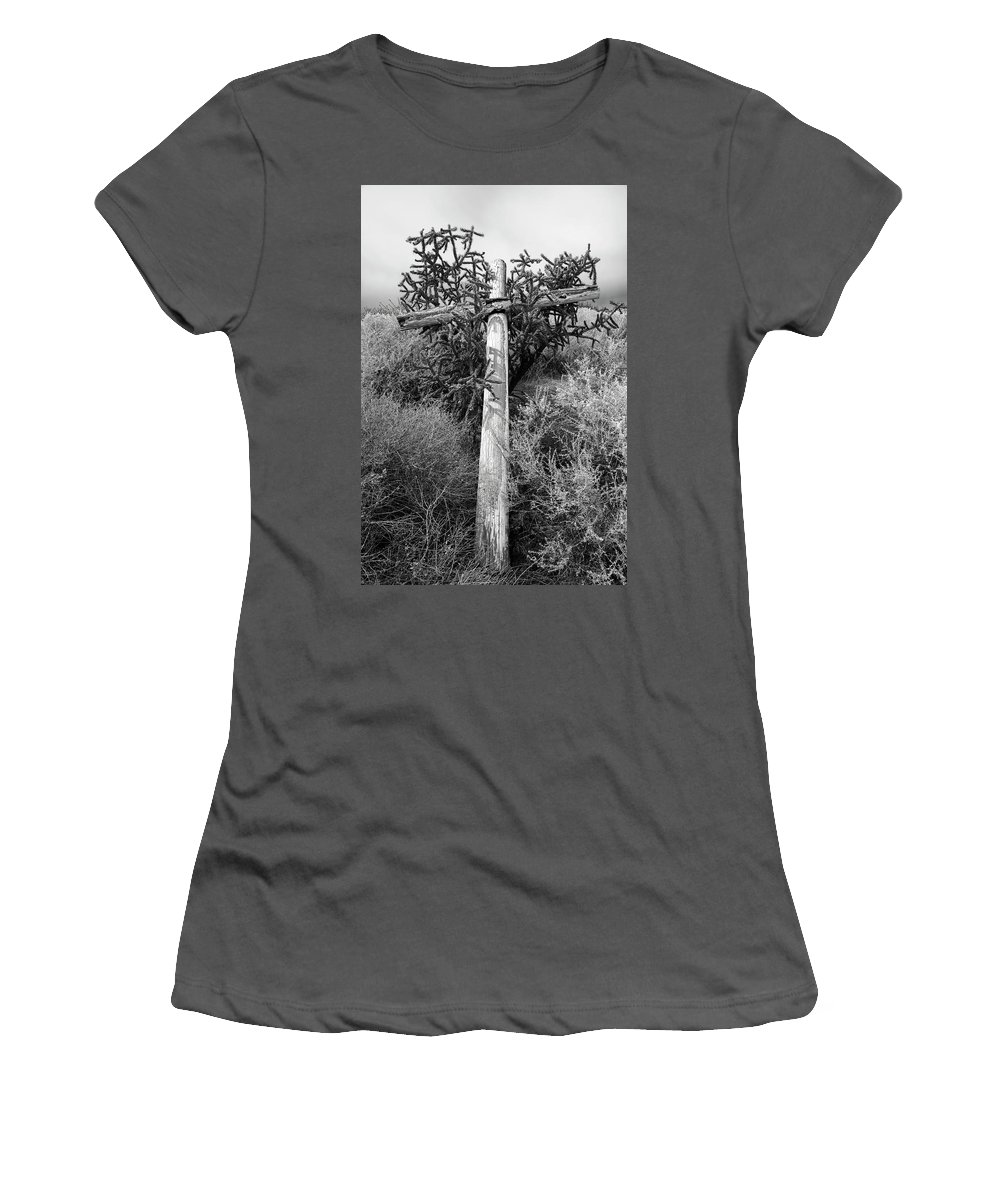 Cross Women's T-Shirt (Athletic Fit) featuring the photograph Cross, Behind The Ruins Of Santa Rosa De Lima Church, Abiquiu, N by Mark Goebel