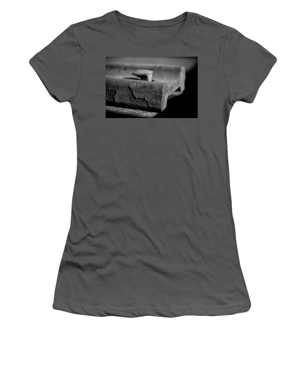 Black And White Photograph Women's T-Shirt (Athletic Fit) featuring the photograph Cross View by Mike Oistad