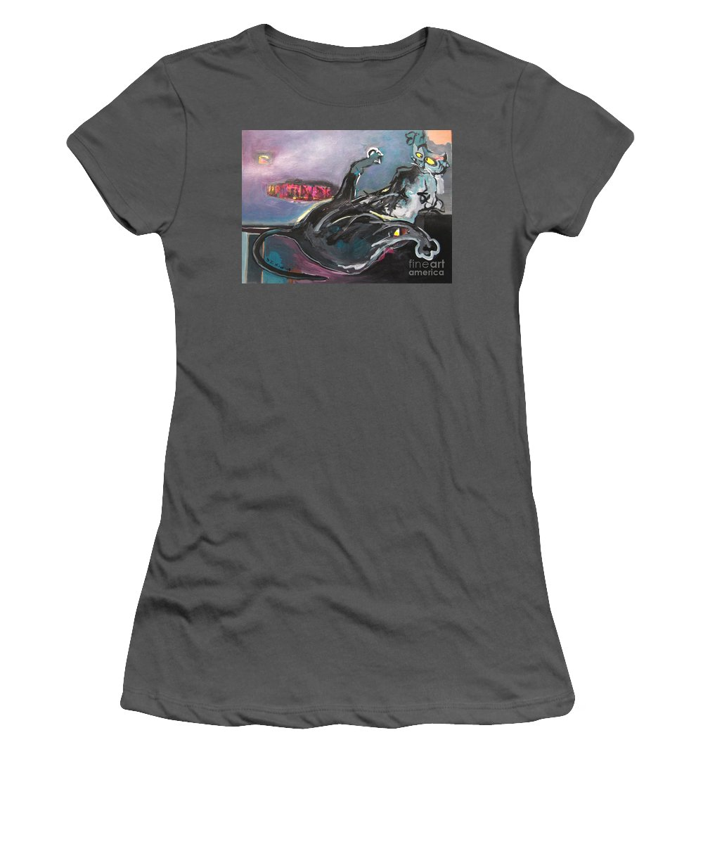 Cat Paintings Women's T-Shirt (Athletic Fit) featuring the painting Crossed Eyed Cat by Seon-Jeong Kim