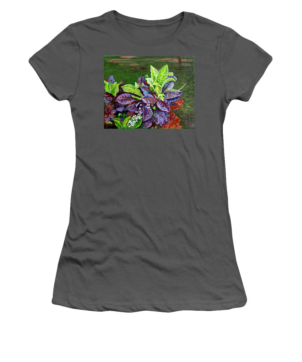 Crotons Women's T-Shirt (Athletic Fit) featuring the painting Crotons 2 by Usha Shantharam