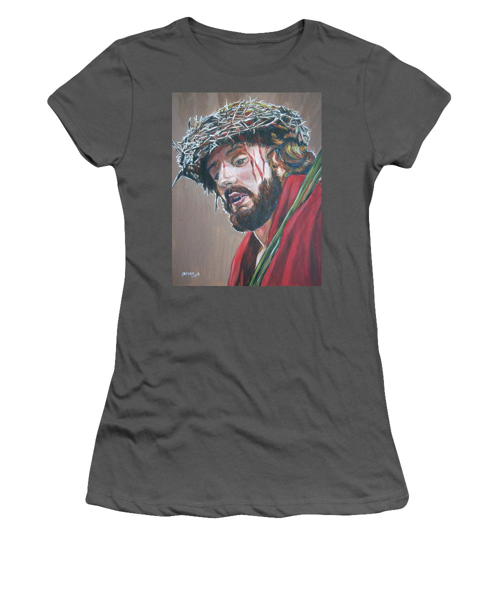 Jesus Christ Women's T-Shirt (Athletic Fit) featuring the painting Crown Of Thorns by Bryan Bustard