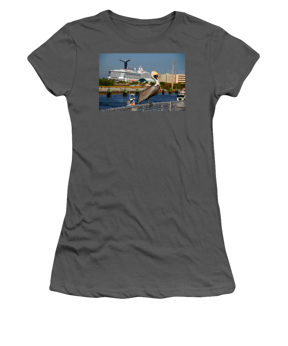 Pelican Women's T-Shirt (Athletic Fit) featuring the photograph Cruising Pelican by Susanne Van Hulst