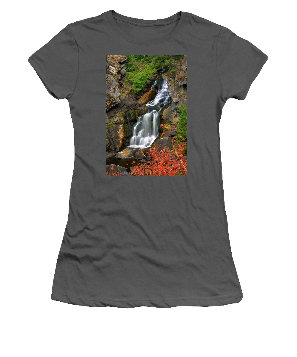 Crystal Falls Women's T-Shirt (Athletic Fit) featuring the photograph Crystal Falls by Marty Koch