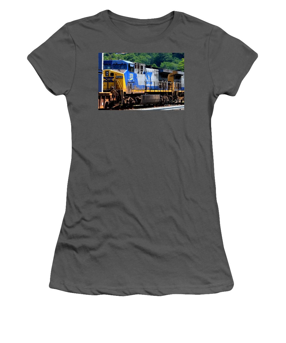 This Is Photo Csx Train 378 Engine Women's T-Shirt (Athletic Fit) featuring the photograph Csx Train 378 by William Rogers