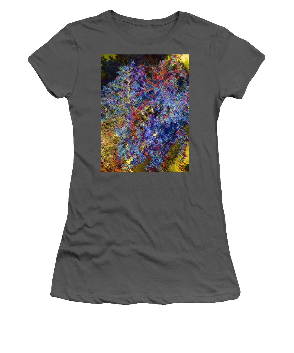 Abstract Women's T-Shirt (Athletic Fit) featuring the digital art Currant Bush As A Painting by Lenore Senior