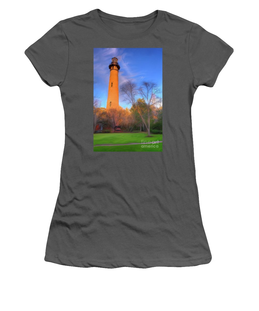 Currituck Women's T-Shirt (Athletic Fit) featuring the painting Currituck Lighthouse In Winter Outer Banks Ap by Dan Carmichael