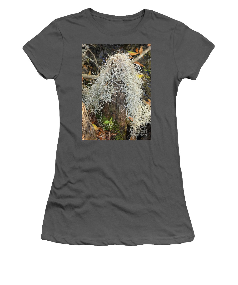 Cypress Knee Women's T-Shirt (Athletic Fit) featuring the photograph Cypress Knee Draped With Moss by Carol Groenen