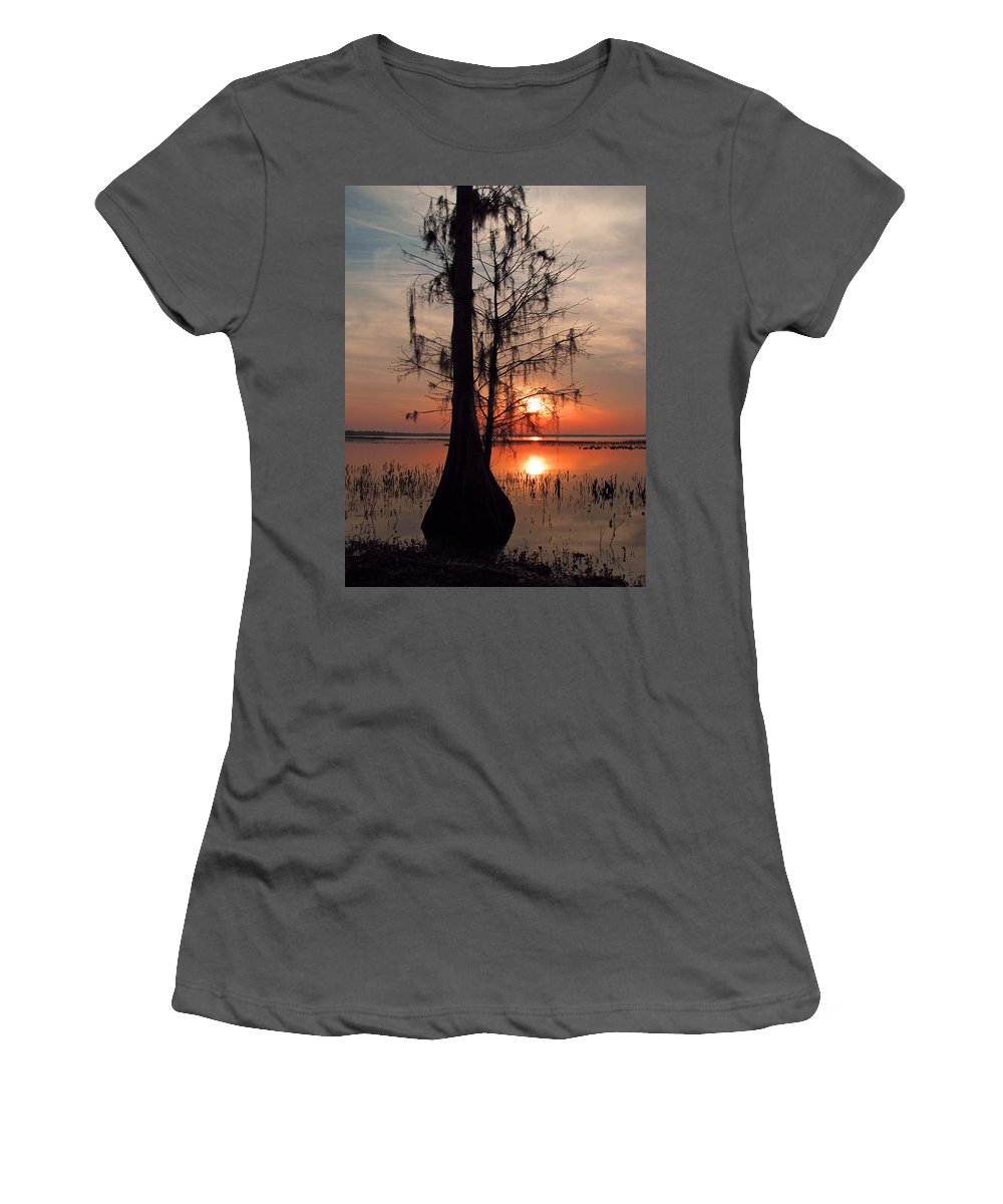 Nature Women's T-Shirt (Athletic Fit) featuring the photograph Cypress Sunset by Peg Urban