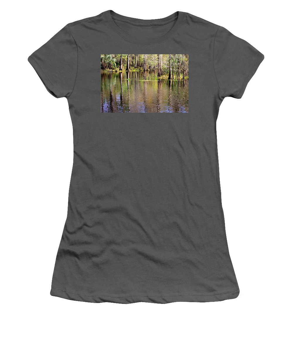 Cypress Trees Women's T-Shirt (Athletic Fit) featuring the photograph Cypress Trees Along The Hillsborough River by Carol Groenen