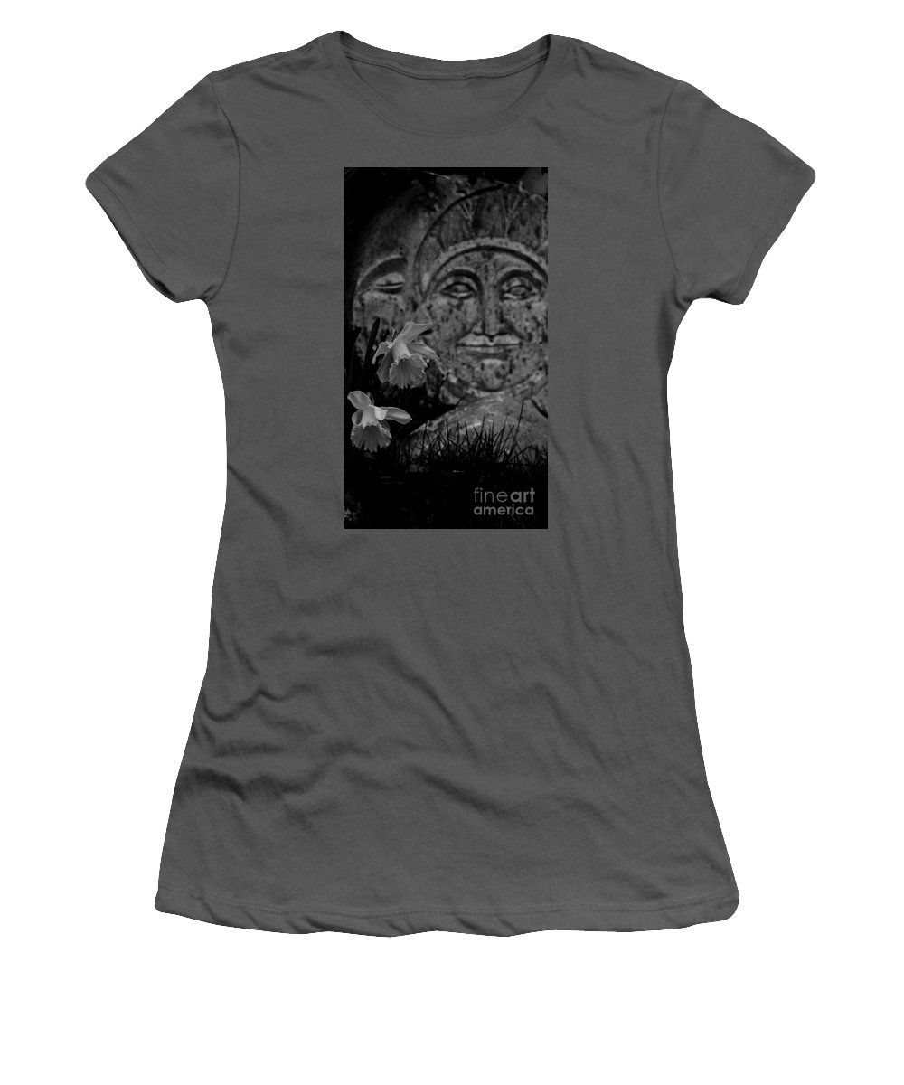 Daffodil Sun Moon Rain Black And White Women's T-Shirt (Athletic Fit) featuring the photograph Daffodil Sun And Moon 2 by Paula Nohavec