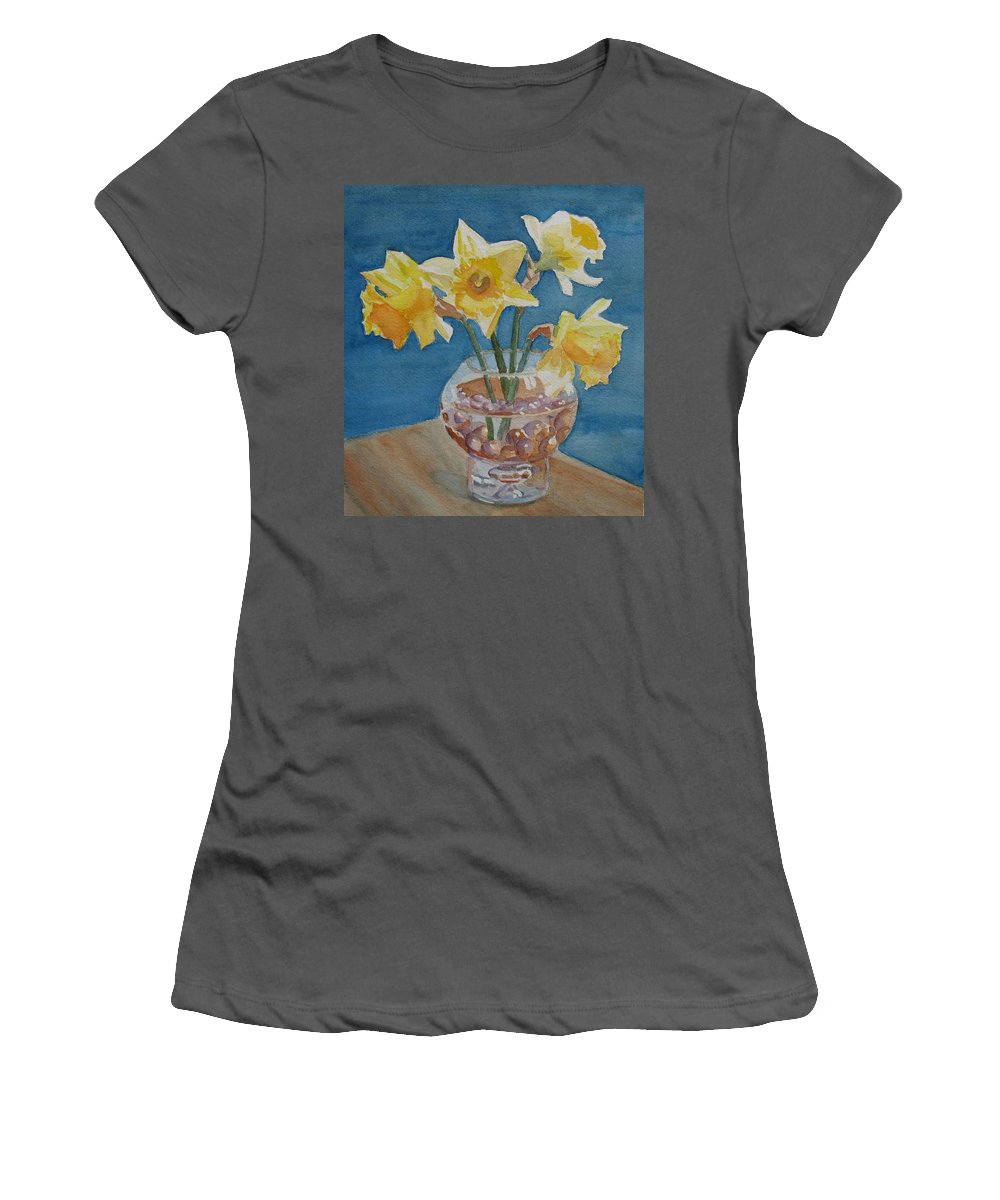 Daffodils Women's T-Shirt (Athletic Fit) featuring the painting Daffodils And Marbles by Jenny Armitage