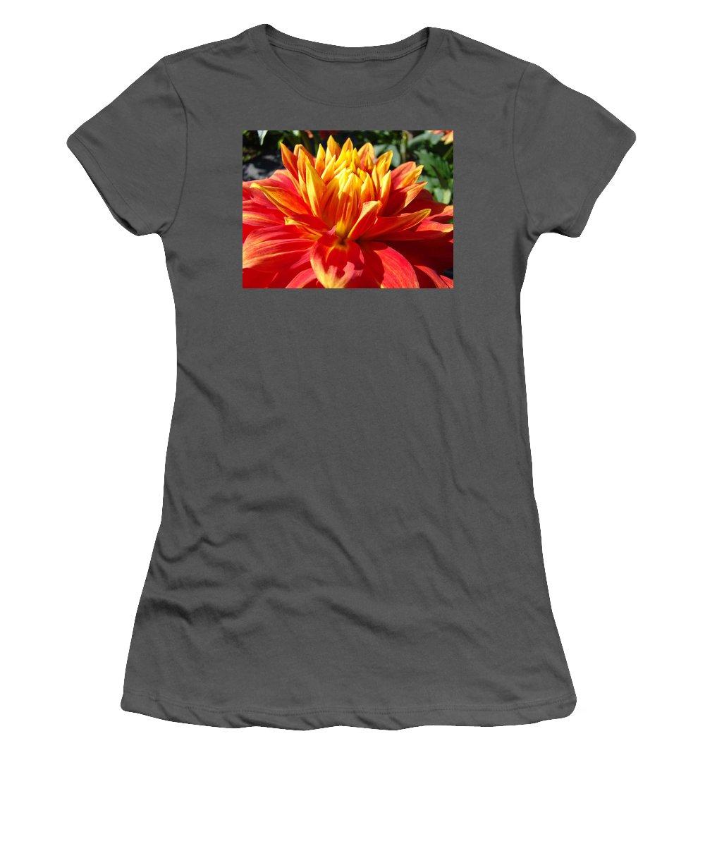 Dahlia Women's T-Shirt (Athletic Fit) featuring the photograph Dahlia Florals Orange Dahlia Flower Art Prints Canvas by Baslee Troutman