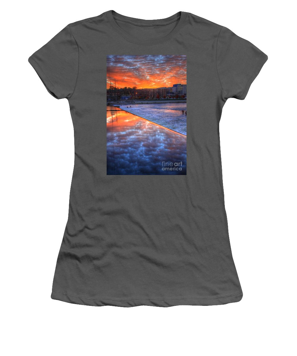 City Women's T-Shirt (Athletic Fit) featuring the photograph Dam Reflection by Robert Pearson