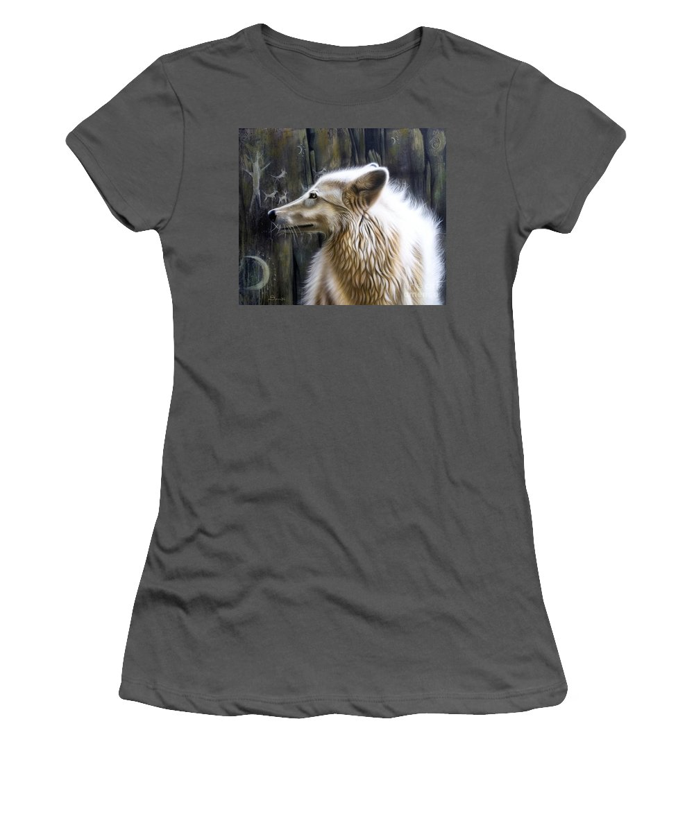 Acrylics Women's T-Shirt (Athletic Fit) featuring the painting Dance -the Moon by Sandi Baker