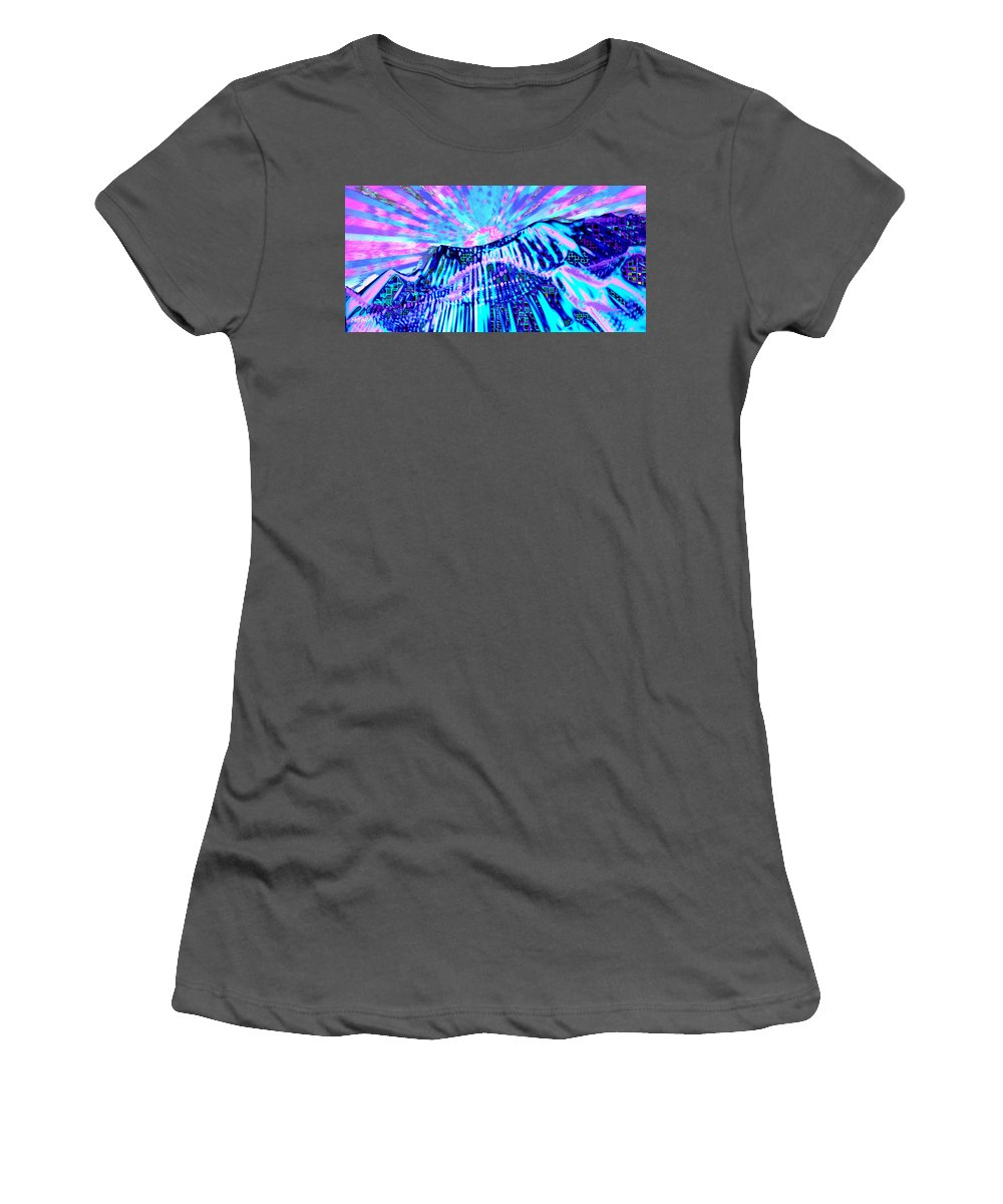 Aurora Borealis Women's T-Shirt (Athletic Fit) featuring the digital art Dancing Sky by Seth Weaver