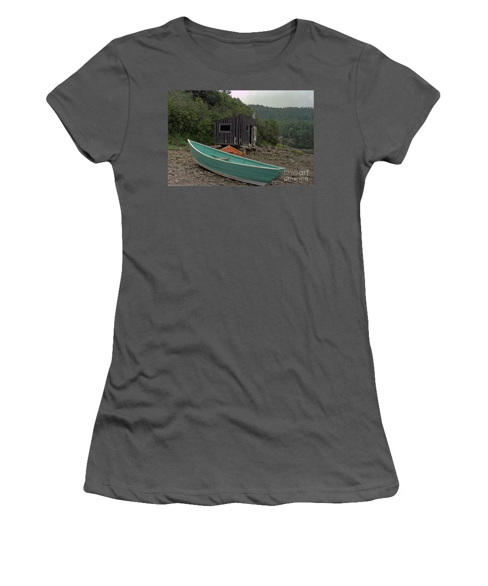 Fisherman Women's T-Shirt (Athletic Fit) featuring the photograph Dark Harbour Fisherman Shack And Boat by Thomas Marchessault
