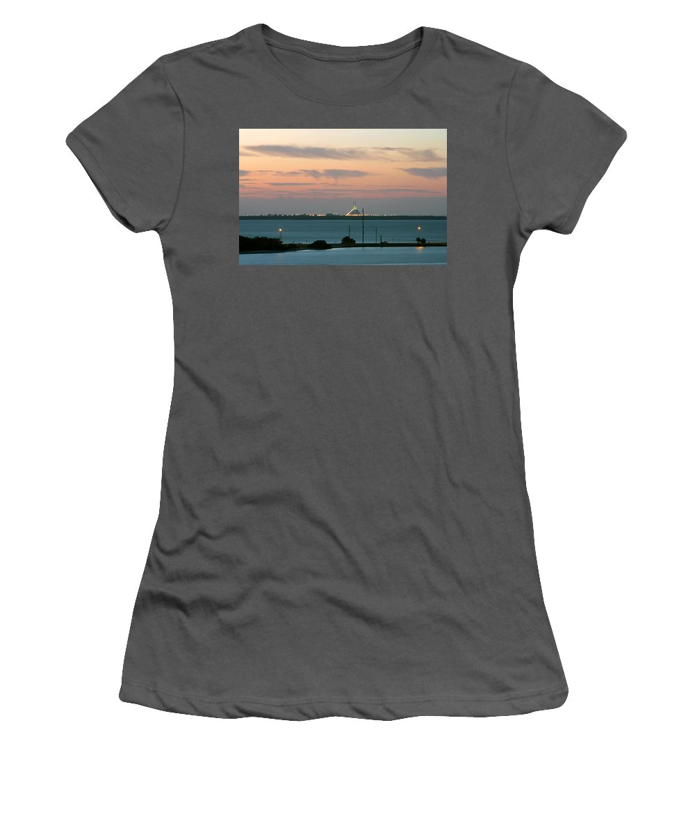Sunshine Women's T-Shirt (Athletic Fit) featuring the photograph Dawn At The Sunshine Skyway Bridge Viewed From Tierra Verde Florida by Mal Bray