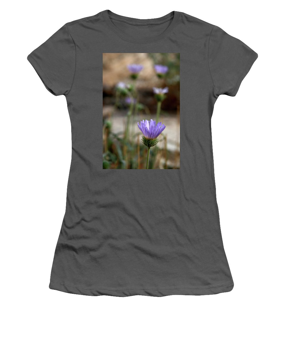 Death Valley Lavenders Women's T-Shirt (Athletic Fit) featuring the photograph Death Valley Lavenders by Chris Brannen
