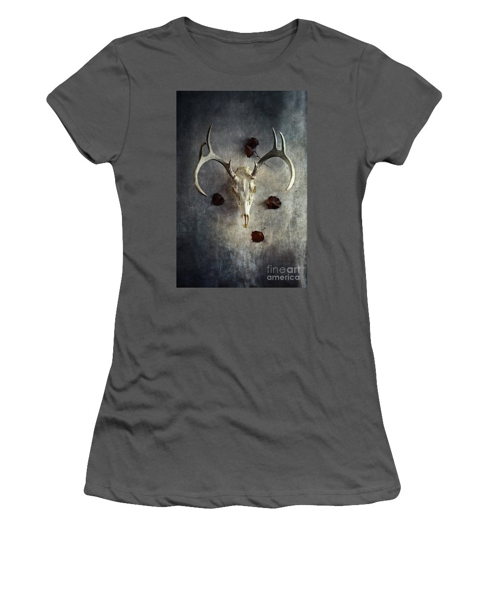 Deer Women's T-Shirt (Athletic Fit) featuring the photograph Deer Buck Skull With Fallen Leaves by Stephanie Frey