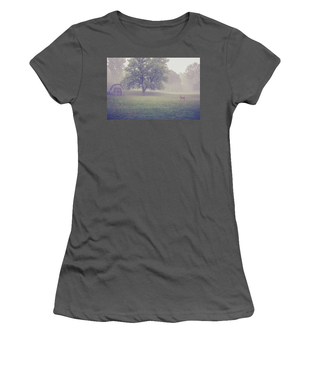 Deer Women's T-Shirt (Athletic Fit) featuring the photograph Deer By Barn On A Foggy Morning by Maxwell Dziku
