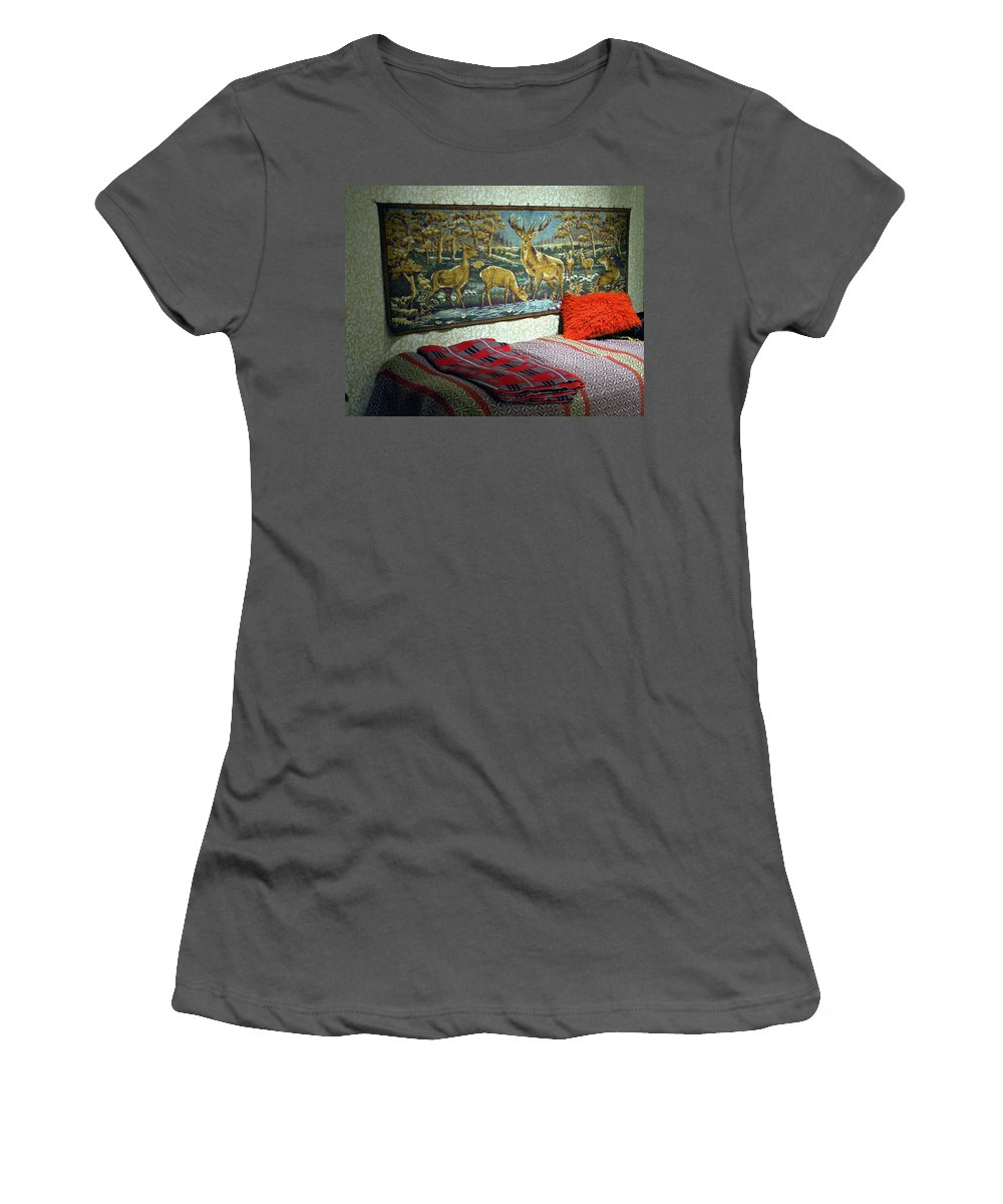 Bed Women's T-Shirt (Athletic Fit) featuring the photograph Deer Room by Jarmo Honkanen