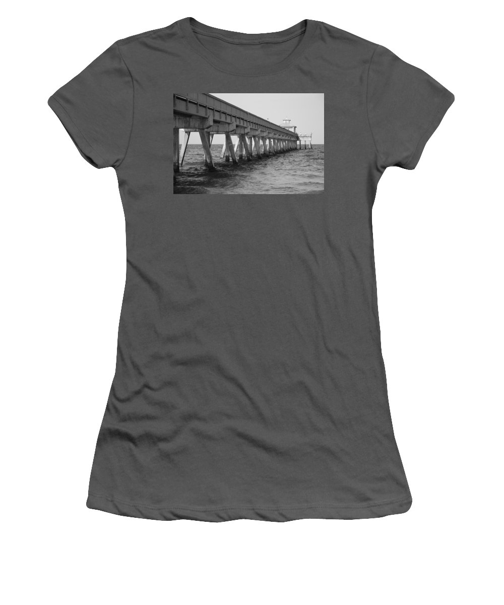 Architecture Women's T-Shirt (Athletic Fit) featuring the photograph Deerfield Beach Pier by Rob Hans