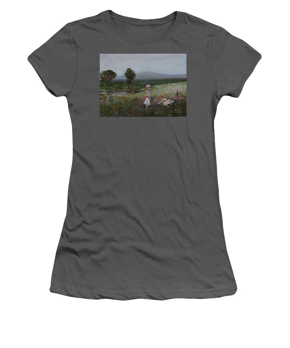 Impressionist Women's T-Shirt (Athletic Fit) featuring the painting Delights Of Spring - Lmj by Ruth Kamenev