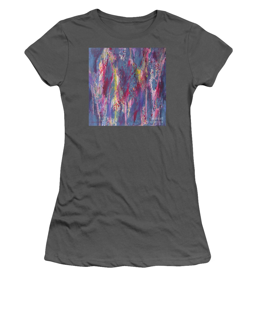 Poured Paint Women's T-Shirt (Athletic Fit) featuring the painting Delve Deep 2 by Mini Arora
