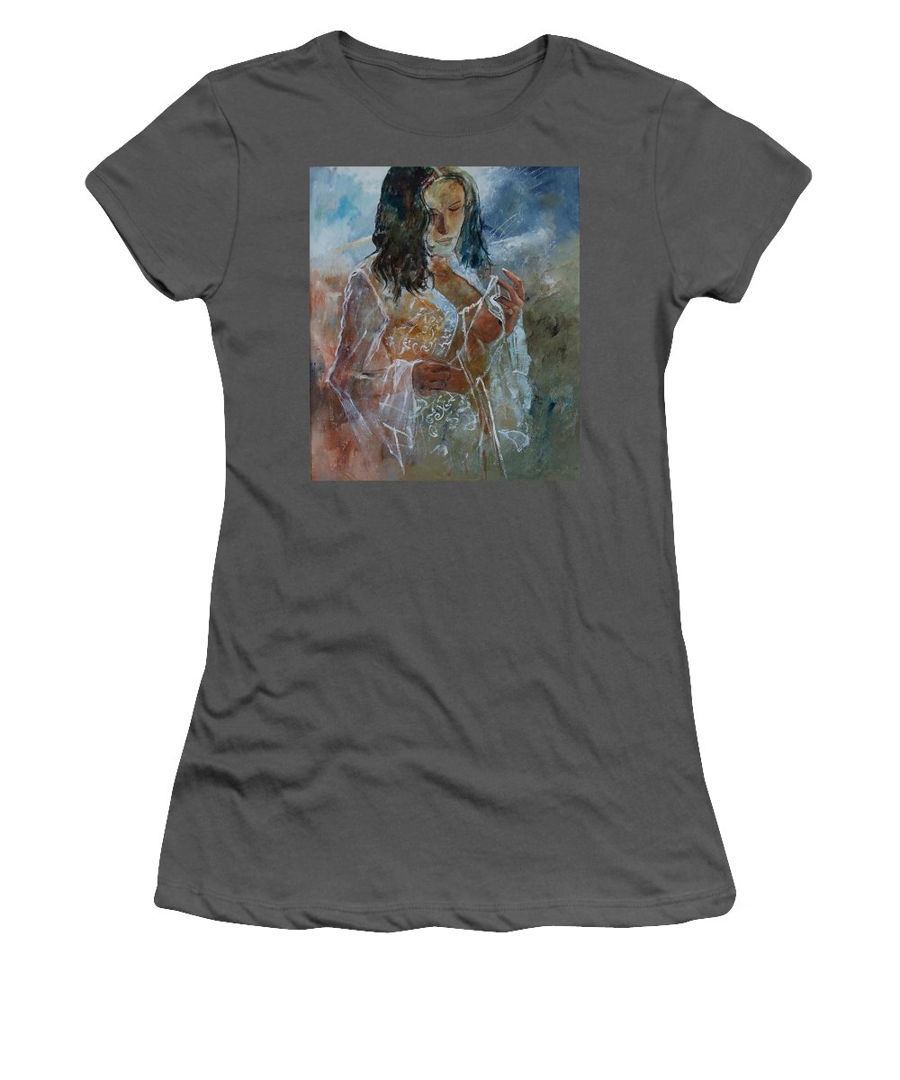 Nude Women's T-Shirt (Athletic Fit) featuring the painting Deshabille 67 by Pol Ledent