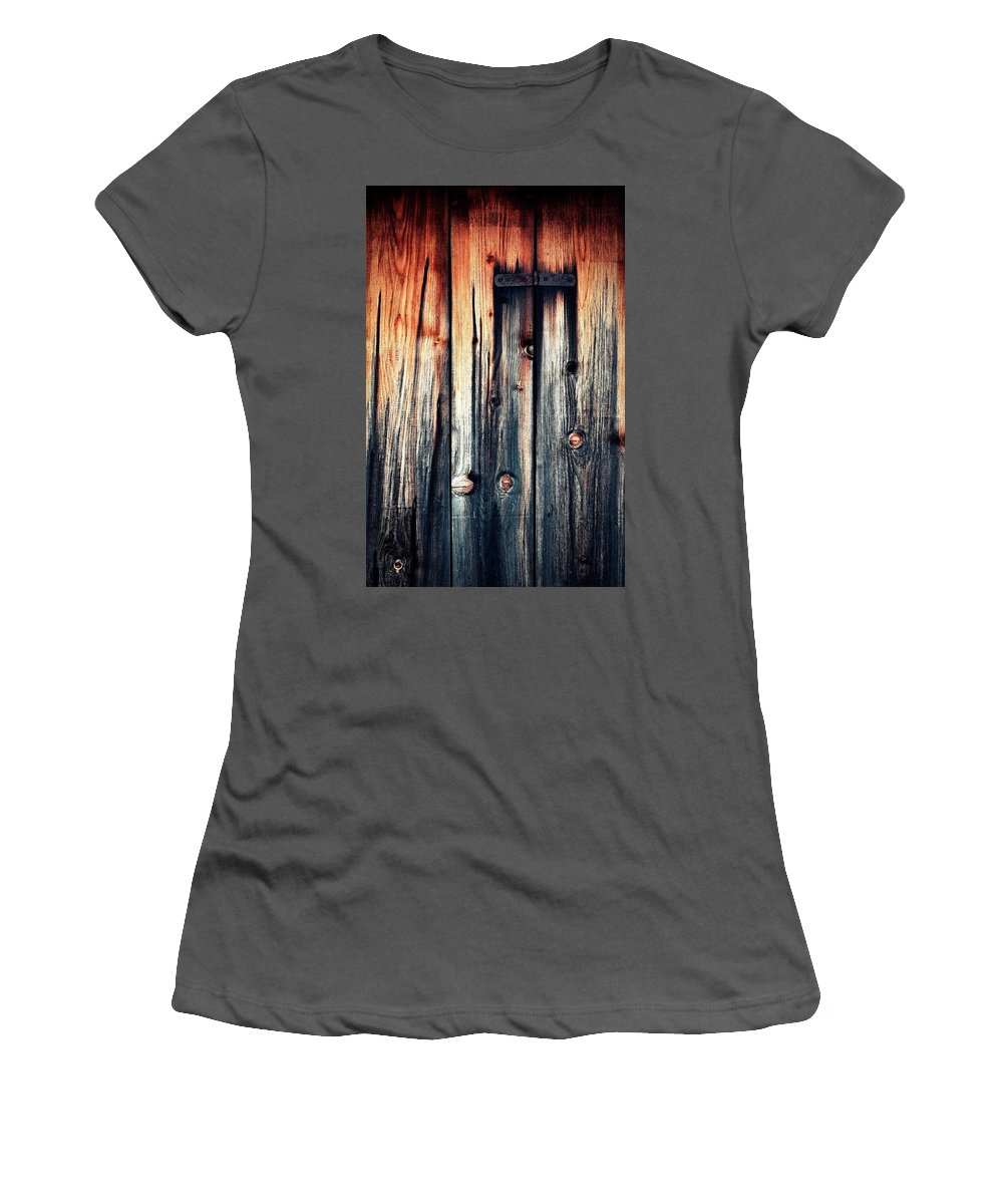 Door Women's T-Shirt (Athletic Fit) featuring the photograph Detail Of An Old Wooden Door by Jozef Jankola