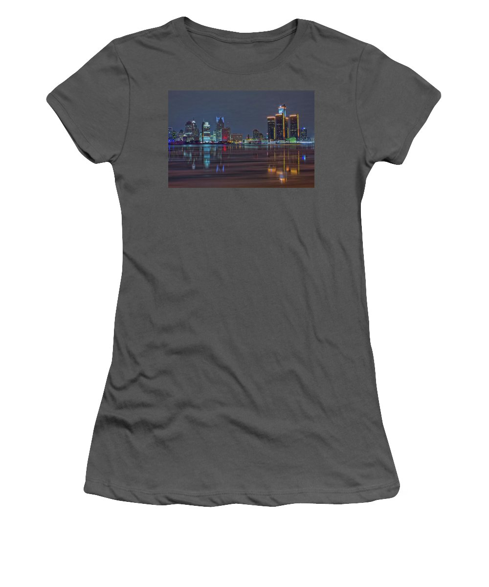 Detroit Women's T-Shirt (Athletic Fit) featuring the photograph Detroit Skyline From Windsor In Hdr by Jay Smith