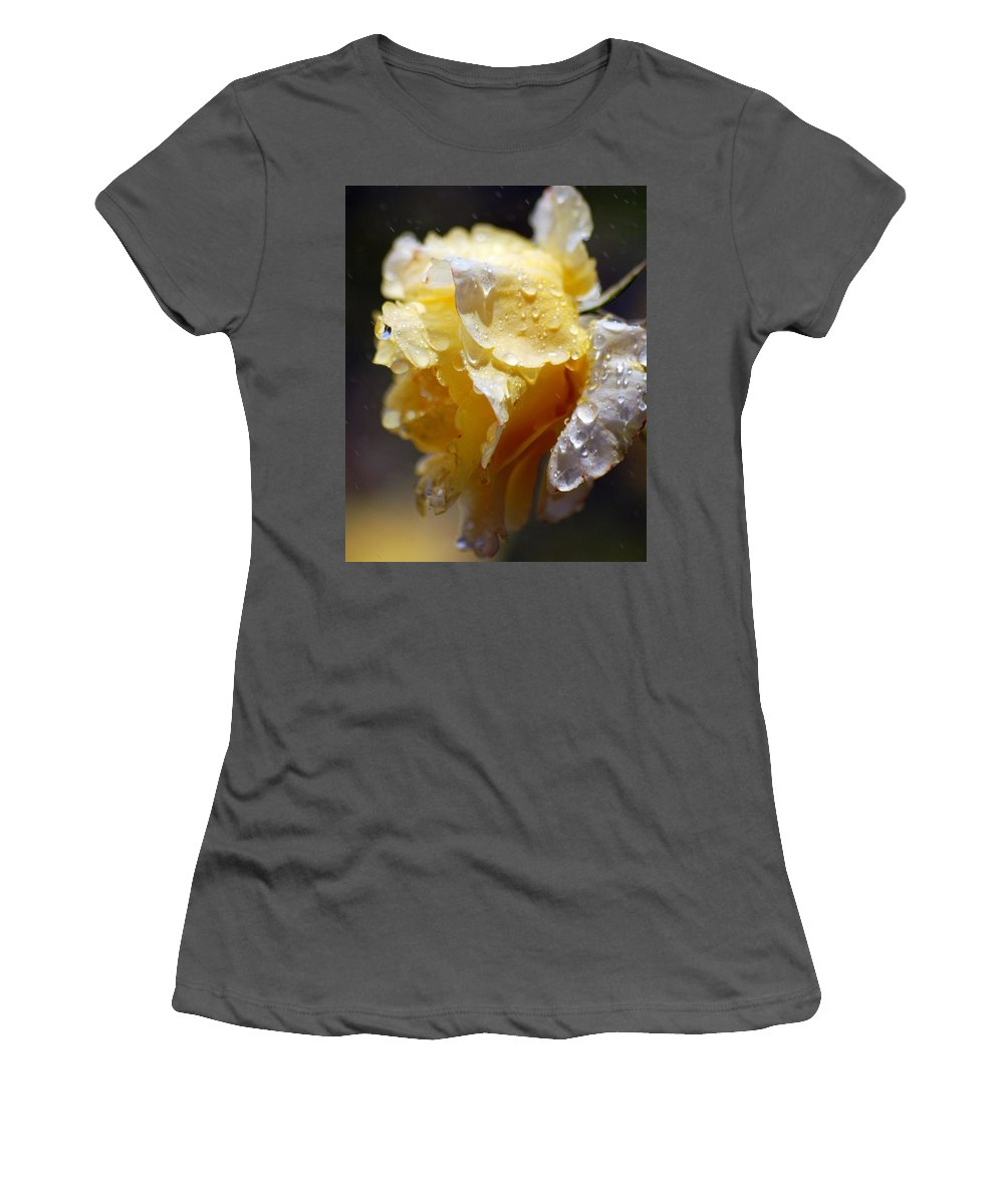 Rose Women's T-Shirt (Athletic Fit) featuring the photograph Dewy Yellow Rose 2 by Amy Fose