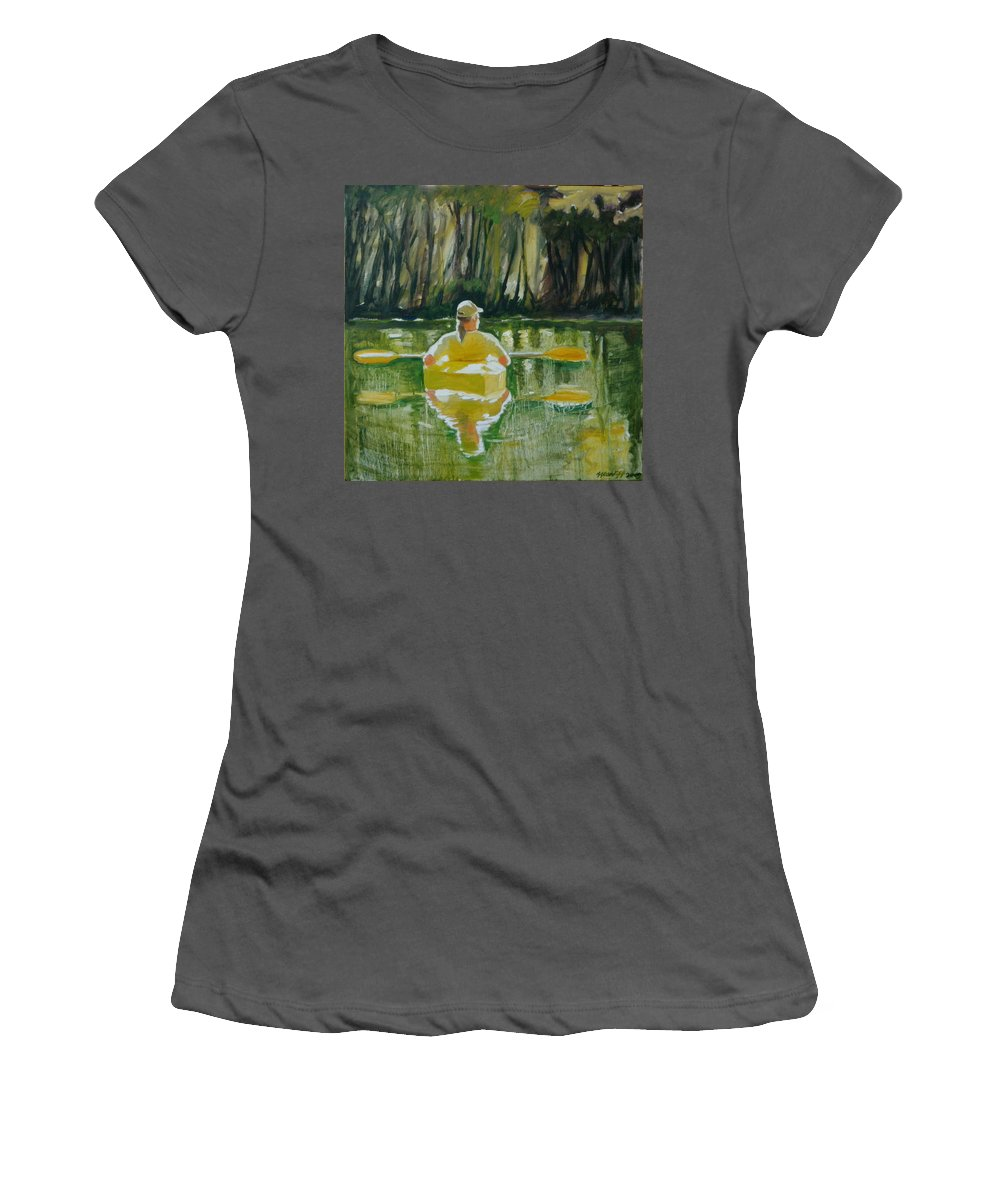 Kayak Women's T-Shirt (Athletic Fit) featuring the painting Dix River Redux by Laura Lee Cundiff