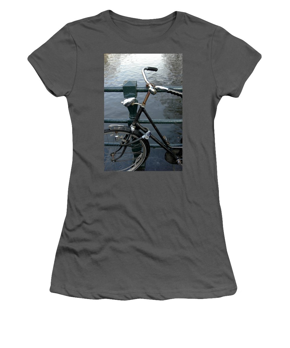 Landscape Amsterdam Red Light District Bicycle Women's T-Shirt (Athletic Fit) featuring the photograph Dnrh1104 by Henry Butz