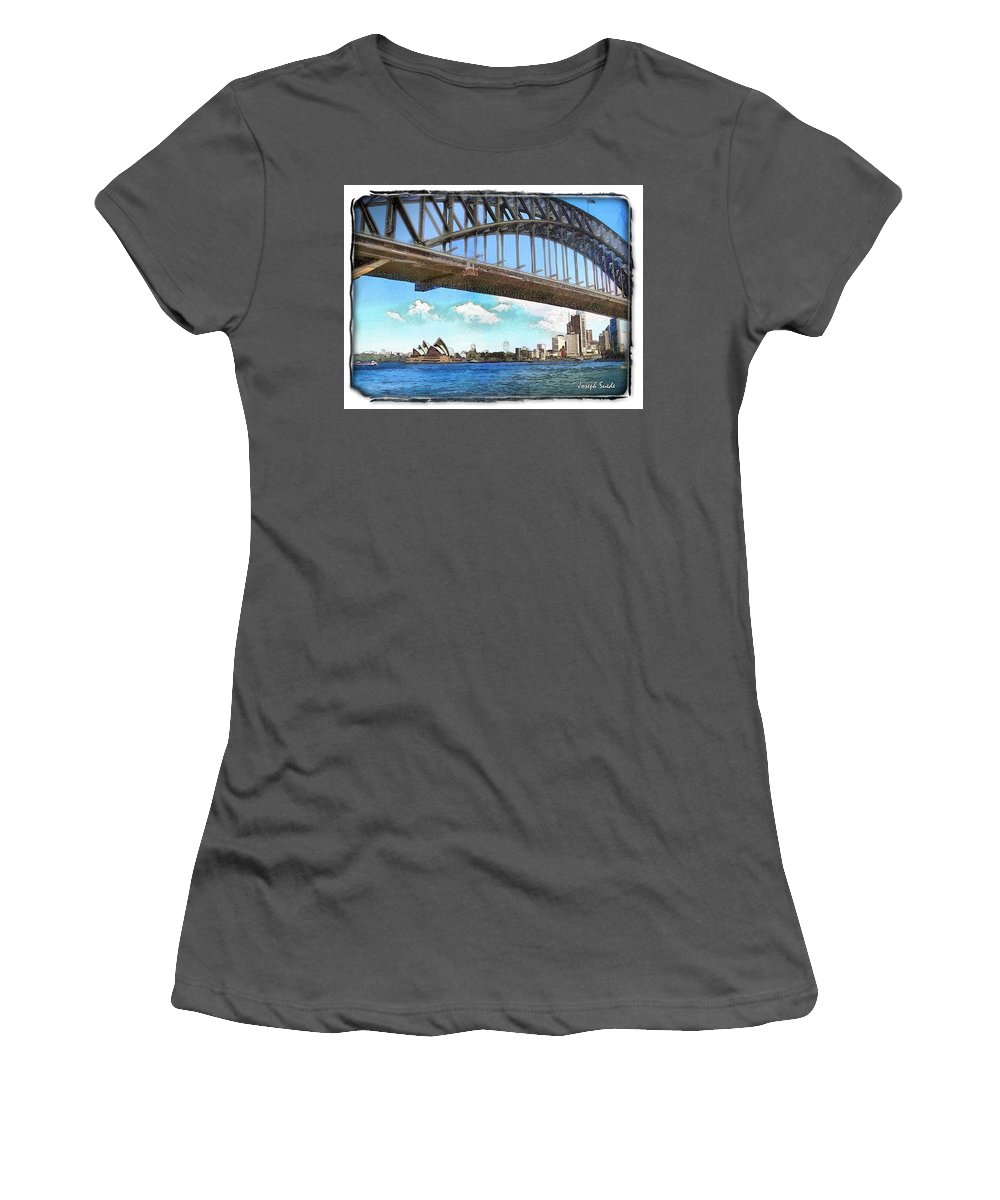 Sydney Harbour Bridge Women's T-Shirt (Athletic Fit) featuring the photograph Do-00284 Sydney Harbour Bridge And Opera House by Digital Oil