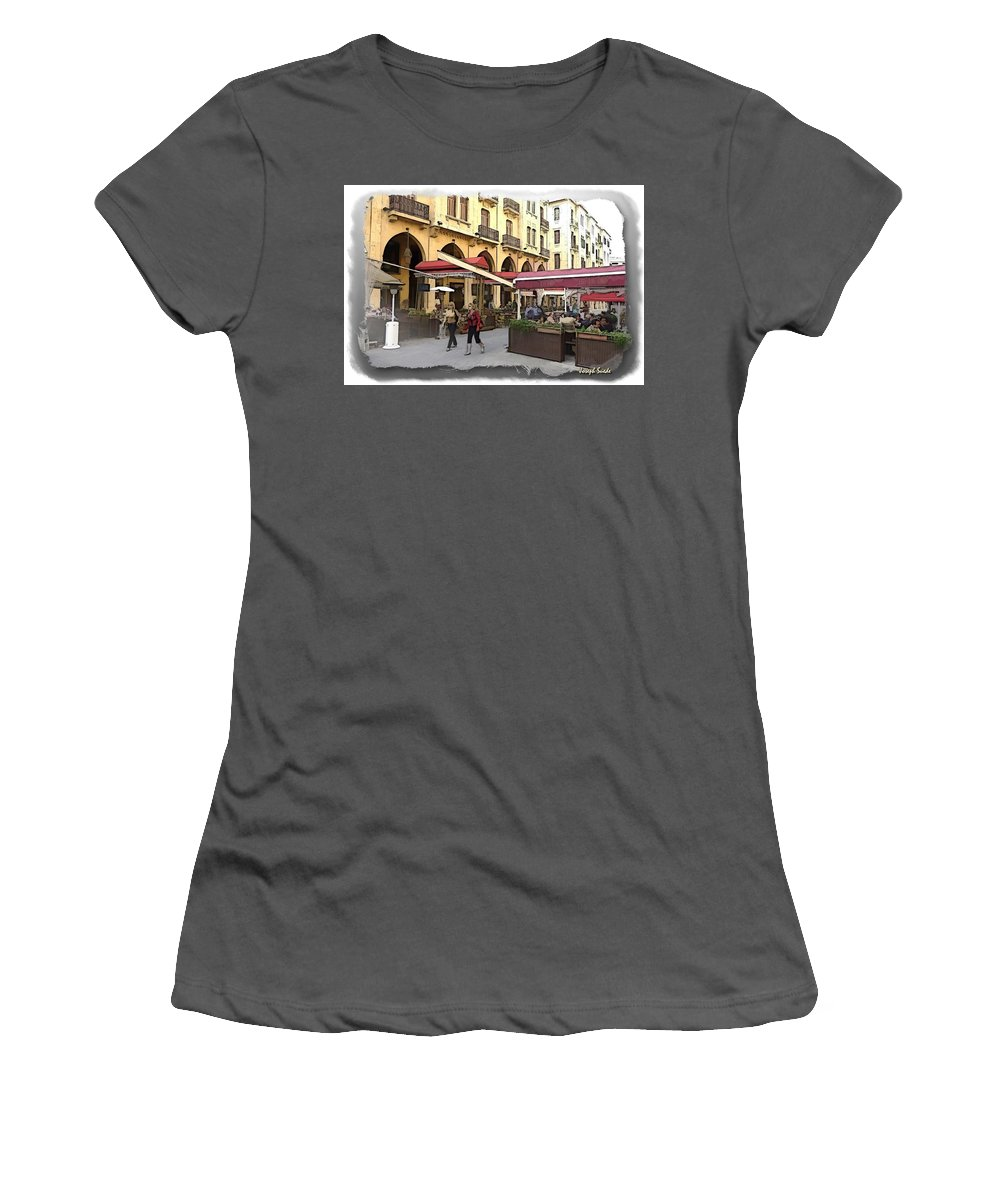 Coffee Shops Women's T-Shirt (Athletic Fit) featuring the photograph Do-00352 Downtown Coffee Shops by Digital Oil