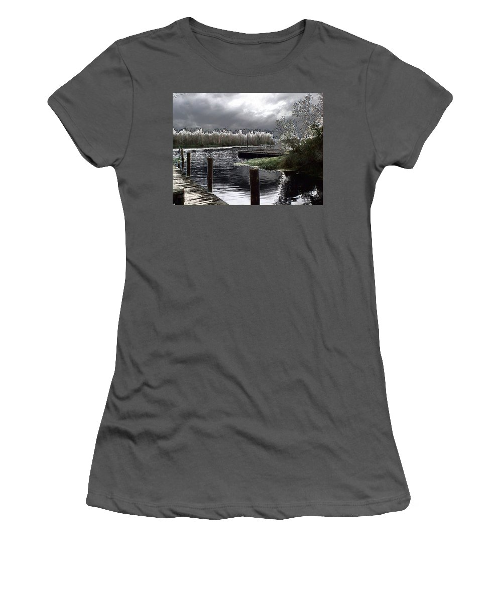 Dock Women's T-Shirt (Athletic Fit) featuring the photograph Dock At Dusk by Charleen Treasures