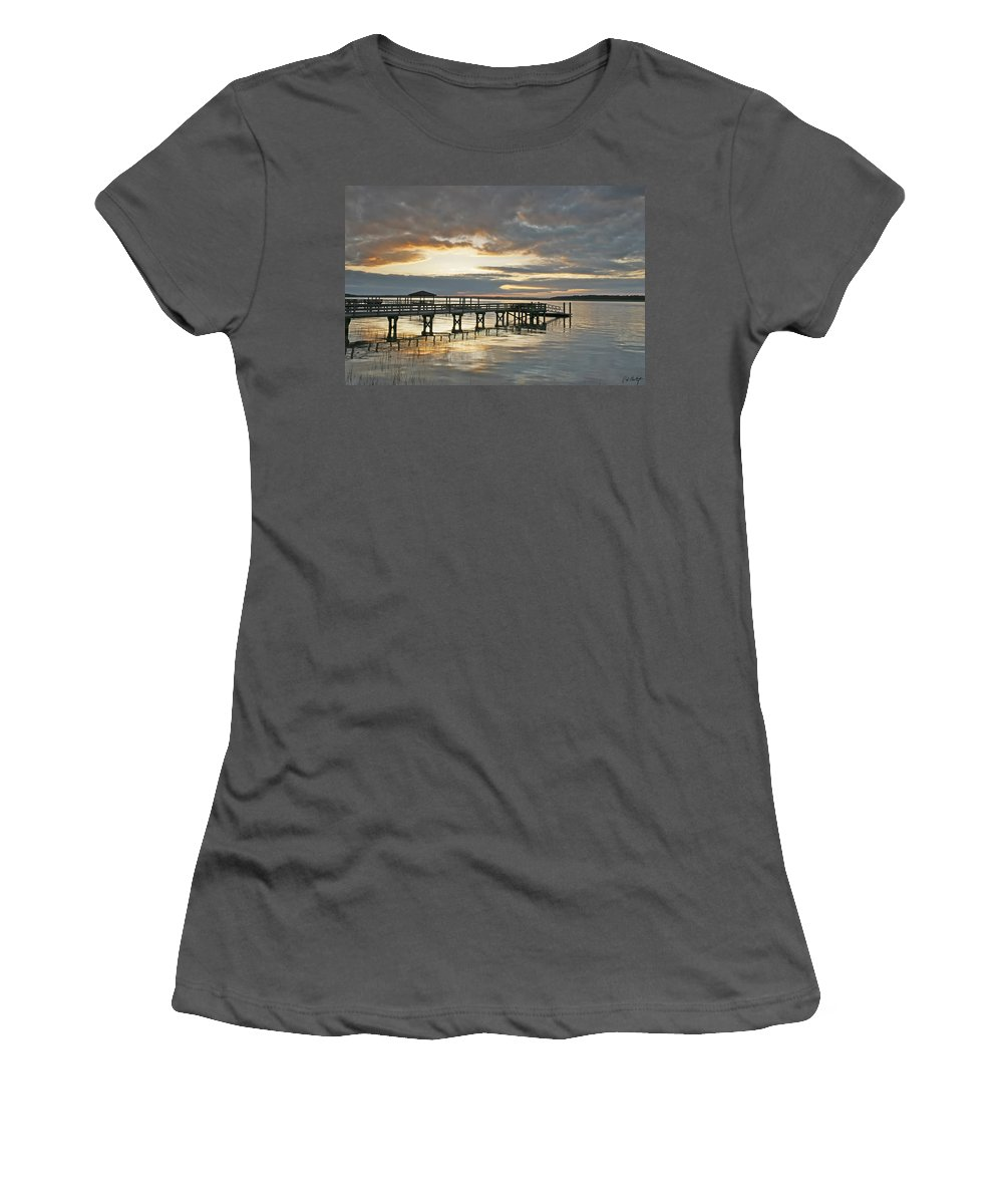 Sunset Women's T-Shirt (Athletic Fit) featuring the photograph Dock Reflections by Phill Doherty