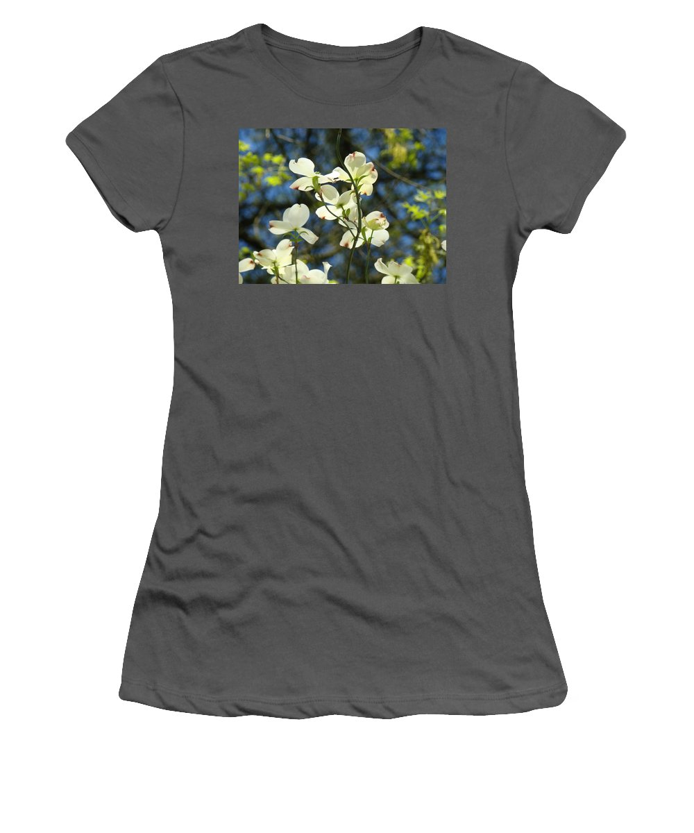 Dogwood Women's T-Shirt (Athletic Fit) featuring the photograph Dogwood Tree Landscape Art Print Blue Sky White Dogwood Flowers by Baslee Troutman