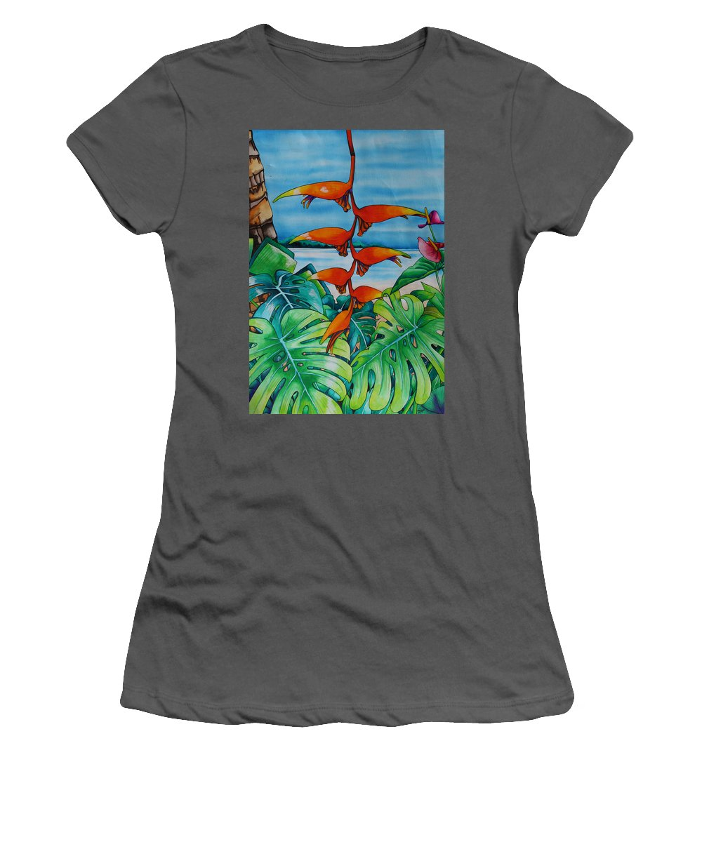 Heliconia Women's T-Shirt (Athletic Fit) featuring the painting Dominican Heliconia by Helen Weston