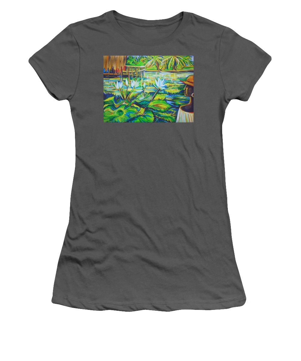 Tropics Women's T-Shirt (Athletic Fit) featuring the painting Dominicana by Anna Duyunova