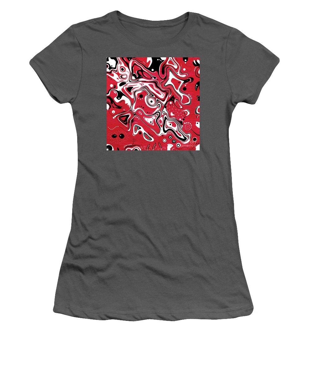 Red Art Women's T-Shirt (Athletic Fit) featuring the digital art Dots N Spots by Aimelle