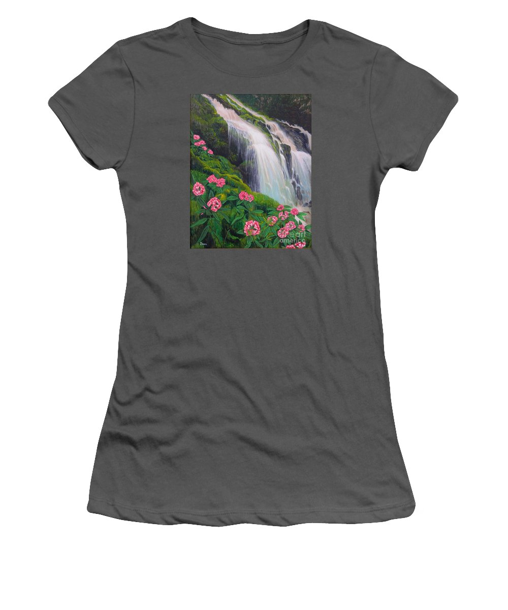 Waterfall Women's T-Shirt (Athletic Fit) featuring the painting Double Hawaii Waterfall by Mary Deal