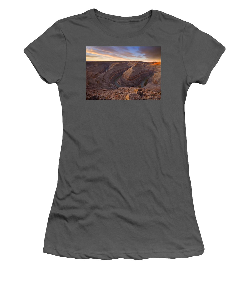 Goosenecks State Park Women's T-Shirt (Athletic Fit) featuring the photograph Doubleback by Mike Dawson