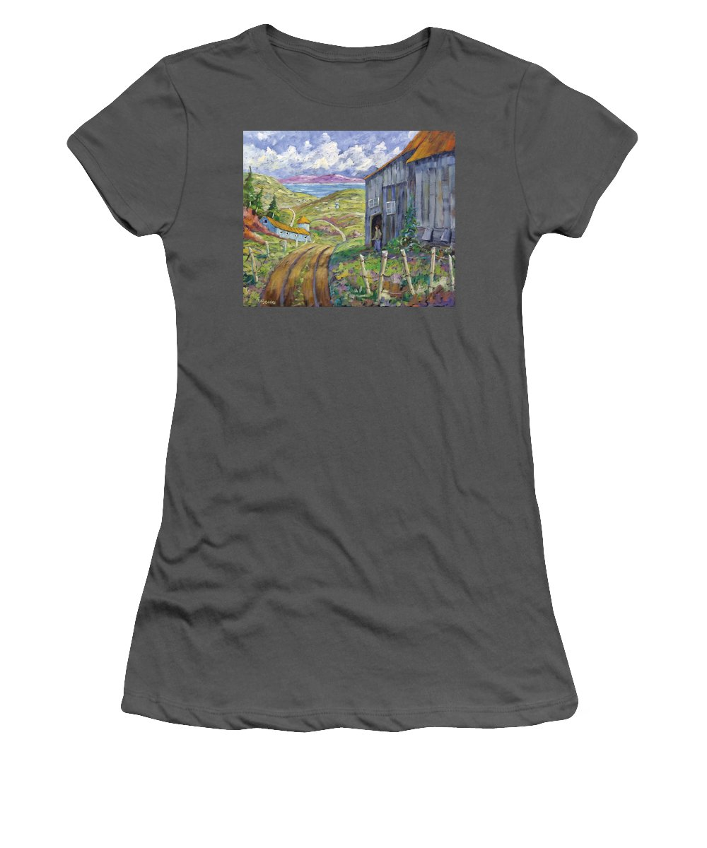Art Women's T-Shirt (Athletic Fit) featuring the painting Down To The Fjord by Richard T Pranke