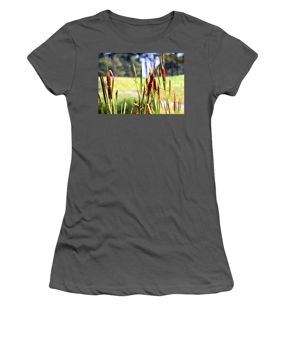 Dragon Fly Women's T-Shirt (Athletic Fit) featuring the photograph Dragon Fly And Cattails In Watercolor by Gary Adkins