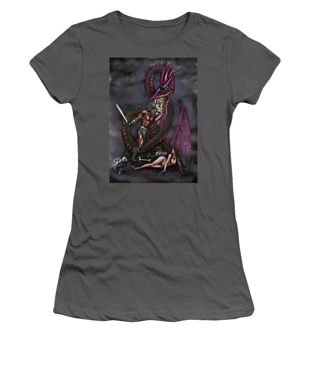 Dragon Women's T-Shirt (Athletic Fit) featuring the painting Dragonslayer by Kevin Middleton