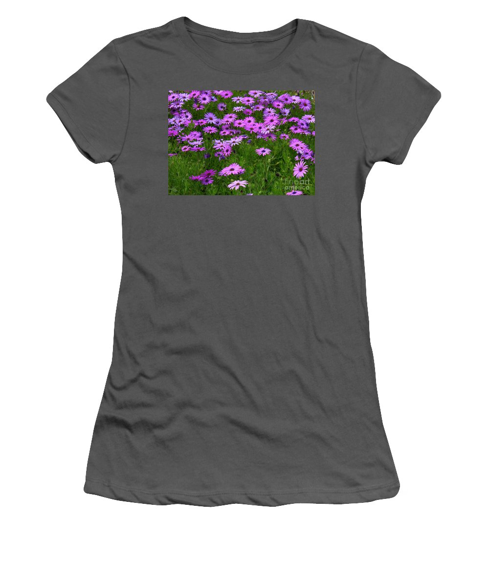 Floral Women's T-Shirt (Athletic Fit) featuring the photograph Dreaming Of Purple Daisies by Carol Groenen